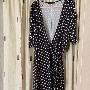 Eloquii navy and white polka dot wrap dress